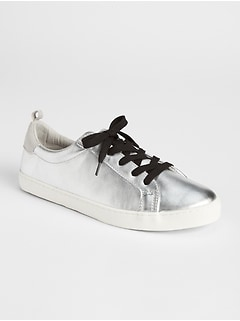 Metallic Leather Lace-Up Sneakers