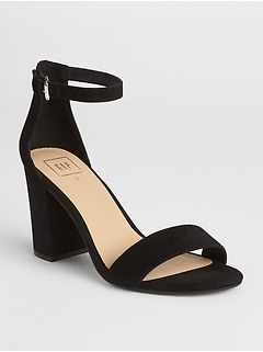 Block Heel Sandals in Suede