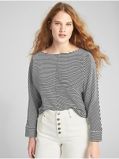 Boxy Ottoman Ribbed Stripe Long Sleeve Top