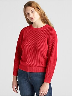 Shaker Stitch Crewneck Pullover Sweater