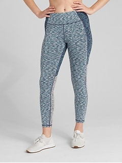 GFast High Rise Colorblock Spacedye 7/8 Leggings in Blackout