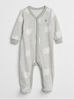 Silver Organic Bear One-Piece Romper GAP Baby Boy Girl Size 6-9 Months Ivory