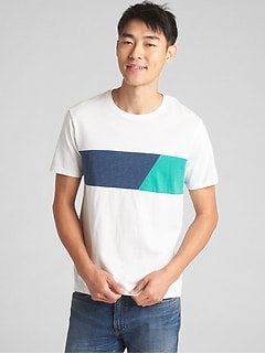 Short Sleeve Chest Stripe Crewneck T-Shirt