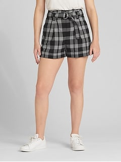 "High Rise 3"" Plaid Shorts with Belt"