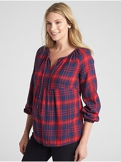 Maternity Split-Neck Plaid Blouse