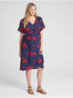 Maternity Floral Print Faux-Wrap Midi Dress