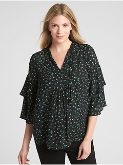 Maternity Print Ruffle Sleeve Split-Neck Blouse