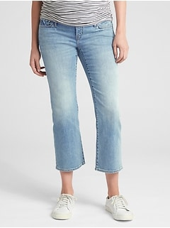 Maternity Full Panel Crop Kick Jeans