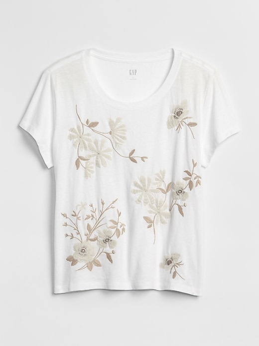 Short Sleeve Embroidered Crewneck T Shirt by Gap