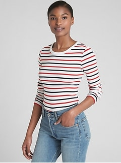 Modern Long Sleeve Stripe Crewneck T-Shirt