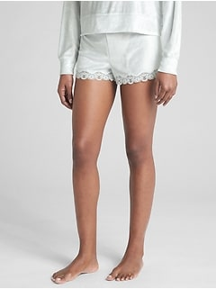 Dreamwell Velour Shorts with Lace Trim