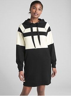 Stripe Raglan Sleeve Hoodie Sweatshirt Dress