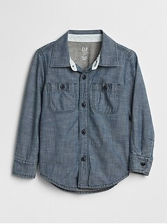 Jersey-Lined Chambray Shirt