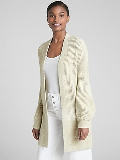 Textured Open-Front Cardigan Sweater