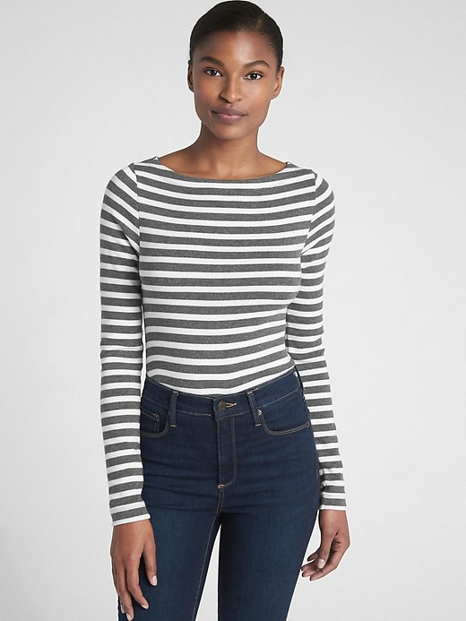 Modern Stripe Long Sleeve Boatneck T Shirt by Gap
