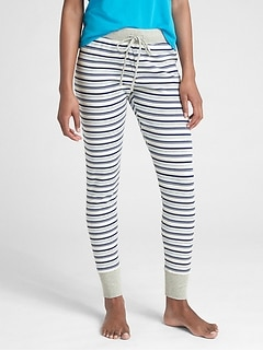 Stripe Ribbed Drawstring Leggings