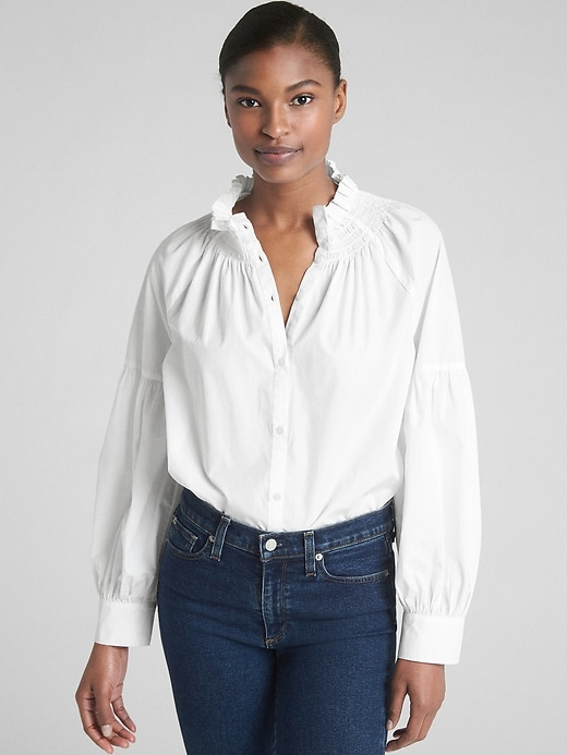 Smocked Ruffle Neck Blouse In Poplin by Gap