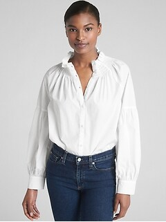 Smocked Ruffle-Neck Blouse in Poplin