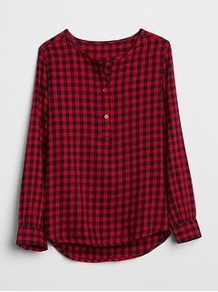 Plaid Henley Popover Shirt