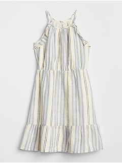 Stripe Halter Tiered Dress