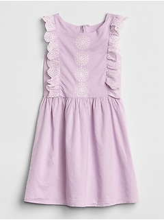 Eyelet Cascade Ruffle Dress
