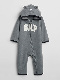 Logo Hoodie One-Piece in Fleece