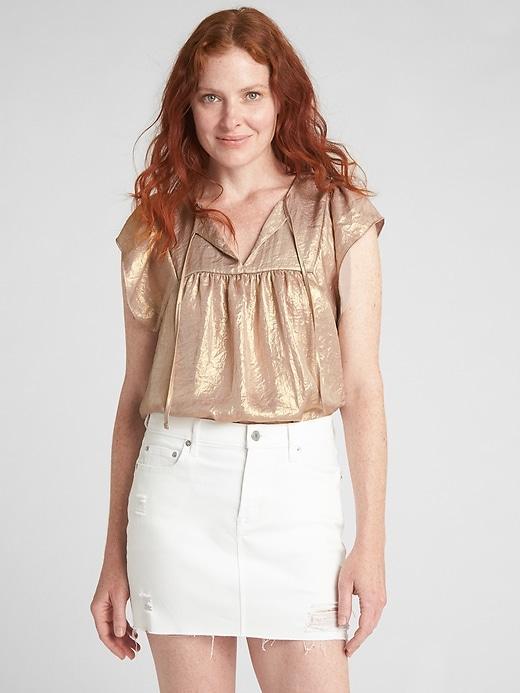 Gap Womens Flutter Metallic Tie-Neck Blouse Gold Size XL