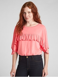 Dolman Sleeve Ruffle-Trim Top