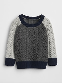 Cable-Knit Colorblock Sweater