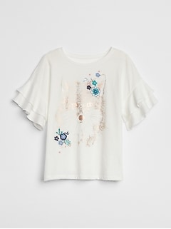 Graphic Ruffle-Sleeve Top