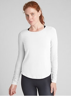 GapFit Long Sleeve Ruched T-Shirt in Supima&#174 Cotton