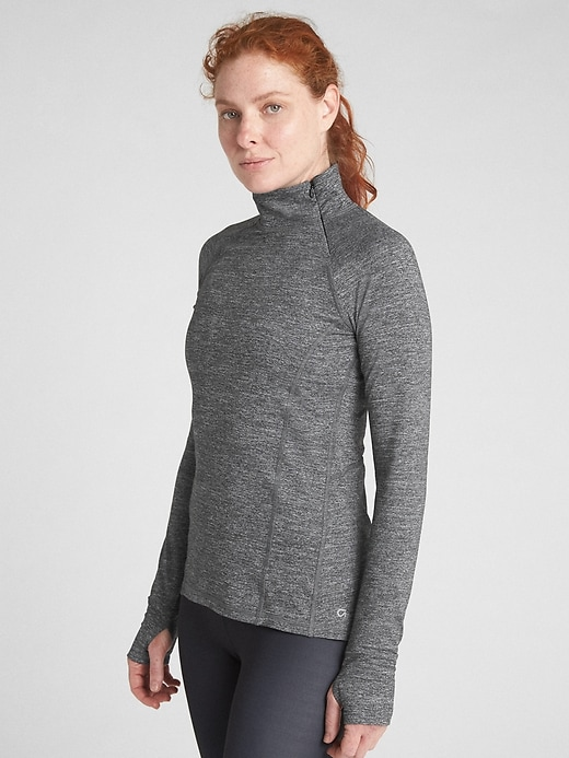 GapFit Asymmetrical Half-Zip Pullover in Brushed Tech Jersey