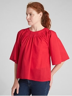 Wide-Sleeve Pintuck Crewneck Blouse