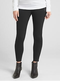 Maternity Full Panel Moto Zip Leggings in Ponte