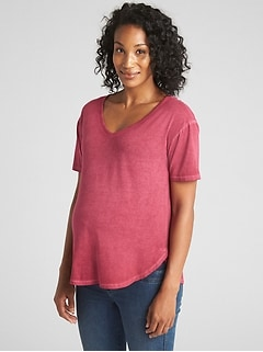 Maternity Short Sleeve Vintage-Wash V-Neck T-Shirt