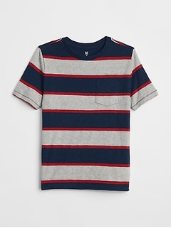 Stripe Pocket Short Sleeve T-Shirt