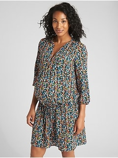Maternity Floral Print Drop-Waist Dress