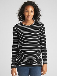 Maternity Pure Body Stripe Crewneck T-Shirt