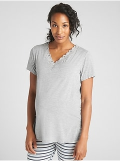 Maternity Lace-Trim  Sleep T-Shirt in Modal