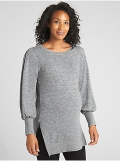 Maternity Balloon Sleeve Side-Zip Pullover Sweatshirt