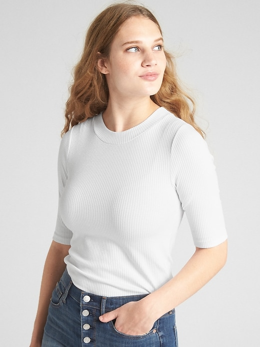 Modern Ribbed Mockneck T Shirt by Gap