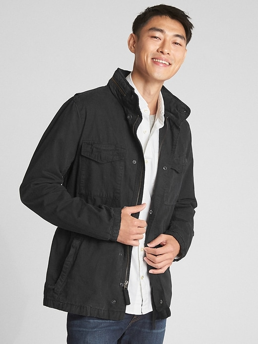 Gap Men's Military Jacket with Hidden Hood