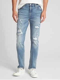 Distressed Jeans in Skinny Fit with GapFlex