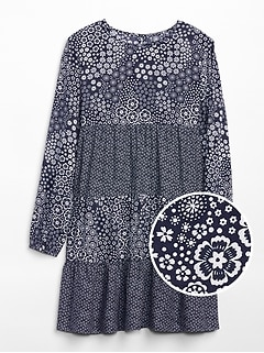 Tiered Mix-Print Dress