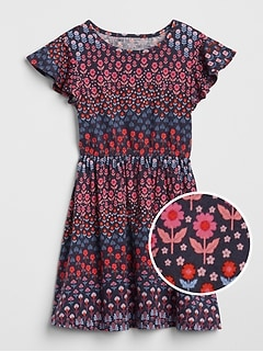Print Flutter Cinched-Waist Dress