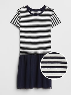 Stripe Mix-Fabric Dress
