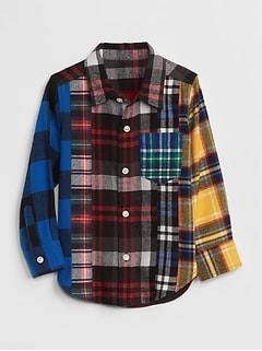 Mix-Plaid Long Sleeve Shirt