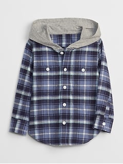 Plaid Hoodie Long Sleeve Shirt
