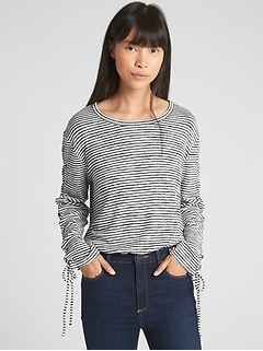 Softspun Stripe Lace-Up Long Sleeve Top