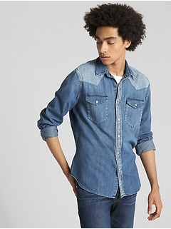 Slim Fit Denim Western Shirt in Blocked Indigo